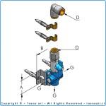 """Блочок с 3 выходами g1/2"""" bsp для отводной линии d14, комплект"""