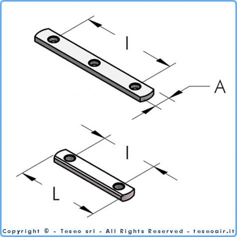 Планка с 2 резьбовыми отверстиями м6 i60